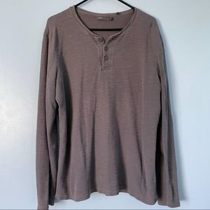 Vince Gray Henley Pullover Button Lined Shirt